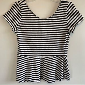 H&M Black and White Striped Peplum Top